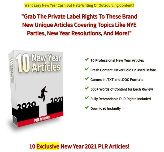 10 New Year 2021 PLR Articles