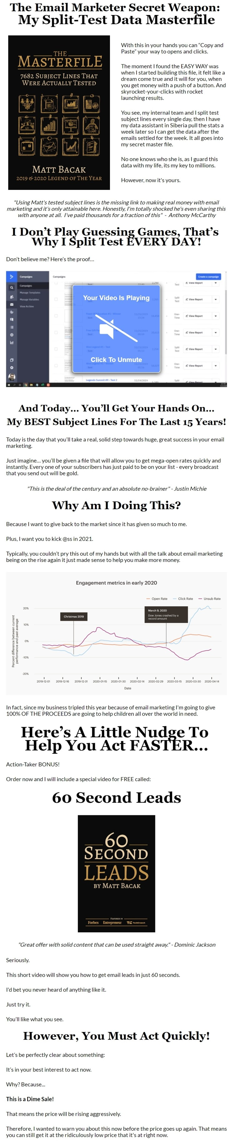 """7682 Tests + 60 Second Leads: Anyone who doesn't grab this data is crazy since it's one of the few shortcuts you can take to making serious money from your list."""""""