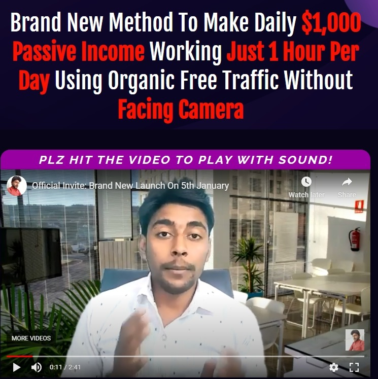 Brand New Method To Make Daily $1,000 Passive Income Working Just 1 Hour Per Day Using Organic Free Traffic Without Facing Camera