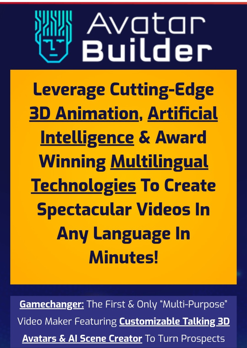 """Gamechanger: The First & Only """"Multi-Purpose"""" Video Maker Featuring Customizable Talking 3DAvatars & AI Scene Creator To Turn Prospects into Sales!"""